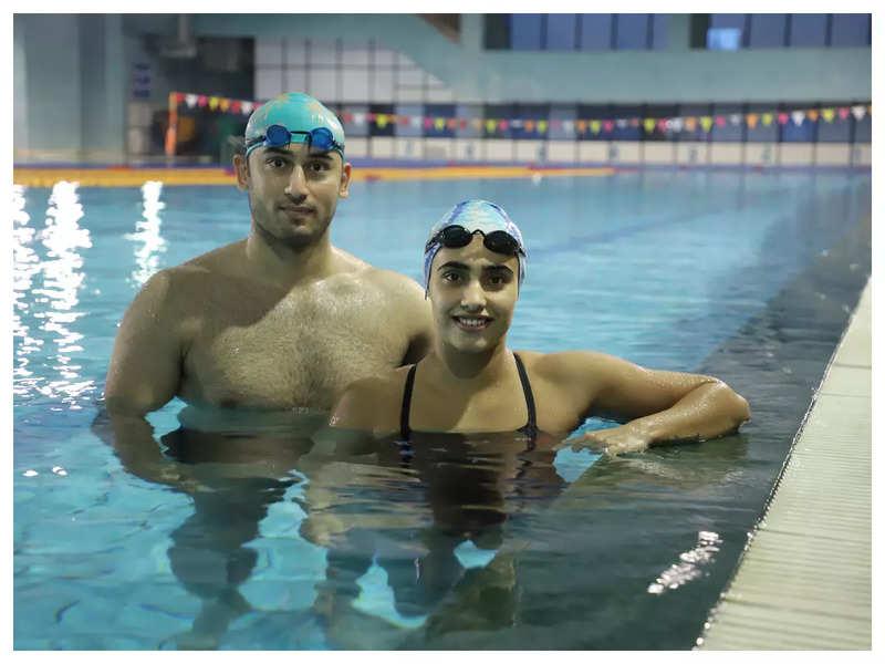 Swimmers Virdhawal Khade and Rutuja Khade in Vadodara
