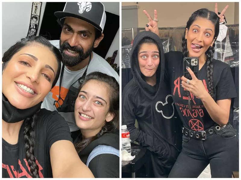 Shruti Haasan shoots for mystery project with Rana Daggubati and Akshara Haasan on-sets