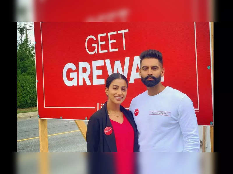 Parmish Verma stands with his lady love Geet Grewal during her political campaign