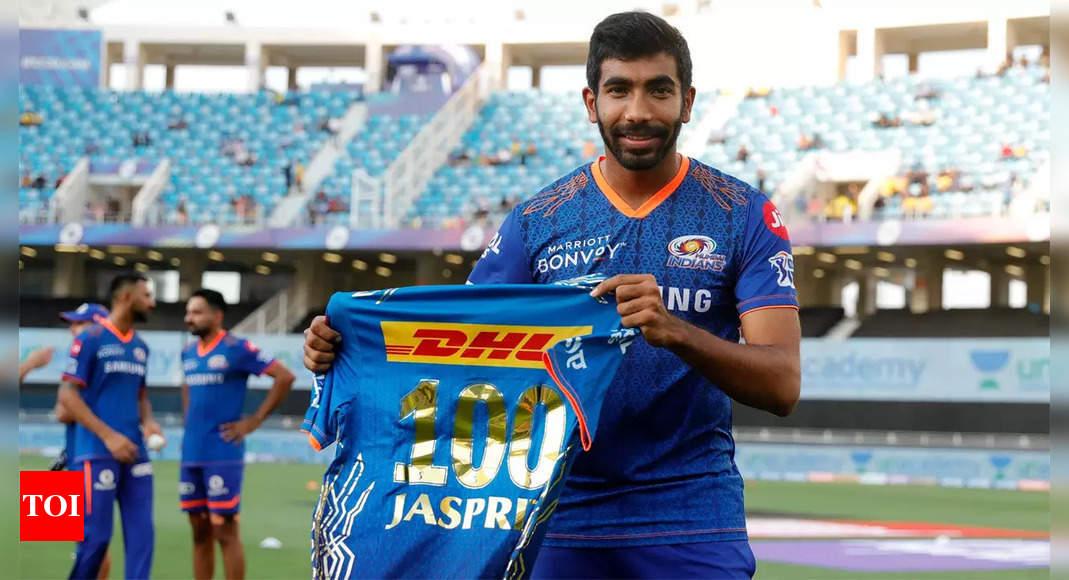 mumbai indians:  IPL 2021: Jasprit Bumrah dons Mumbai Indians jersey for 100th time | Cricket News – Times of India