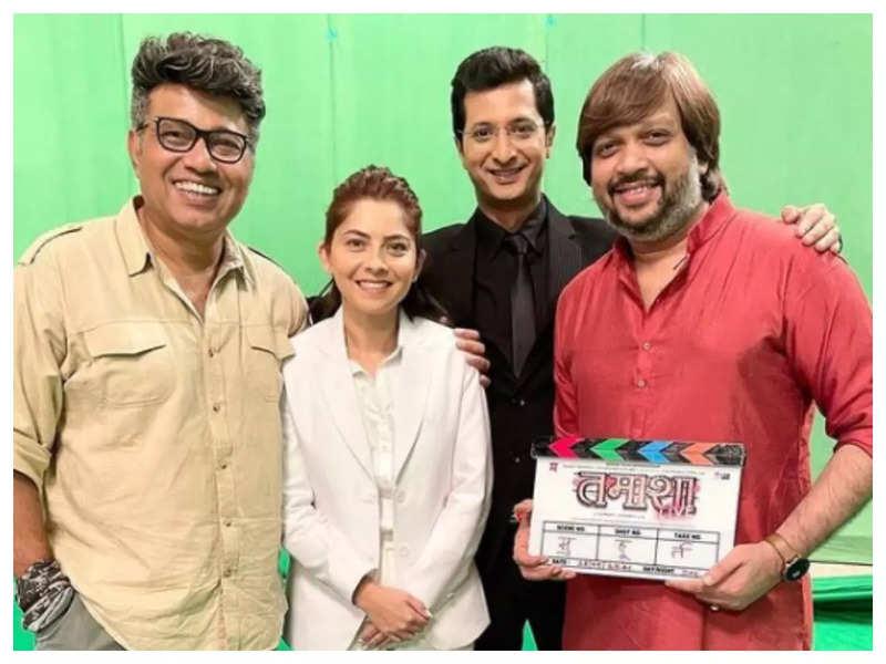 Sonalee Kulkarni, Pushkar Jog and Sachit Patil commence 'Tamasha Live' shoot with a mahurat shot; See pics