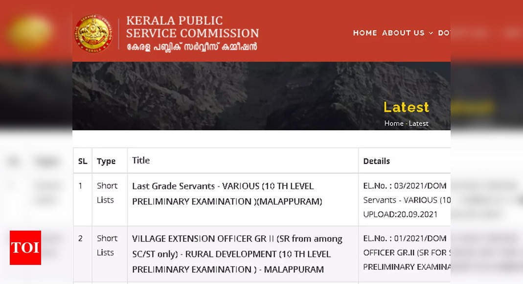 Kerala PSC LGS Short List 2021 released; check here – Times of India
