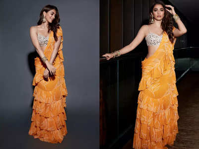 Pooja Hegde's mango leaf sari is a must-see for all brides-to-be