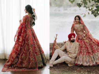 This bride wore a scarlet lehenga