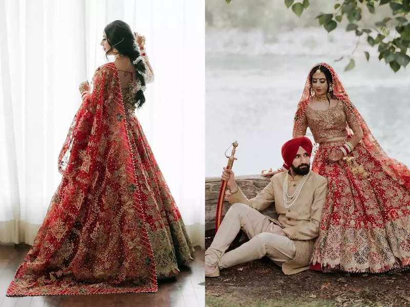 This Sikh bride wore a scarlet lehenga for her Anand Karaj and it's beautiful