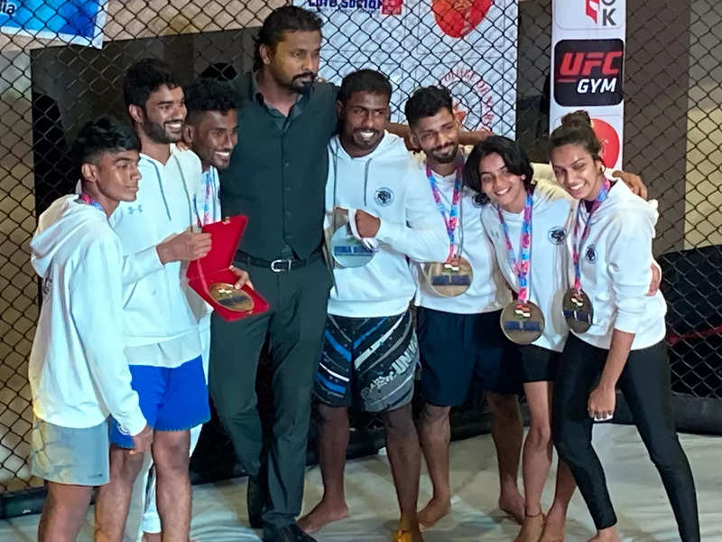 Ajit Sigamani with his MMA students from Chennai