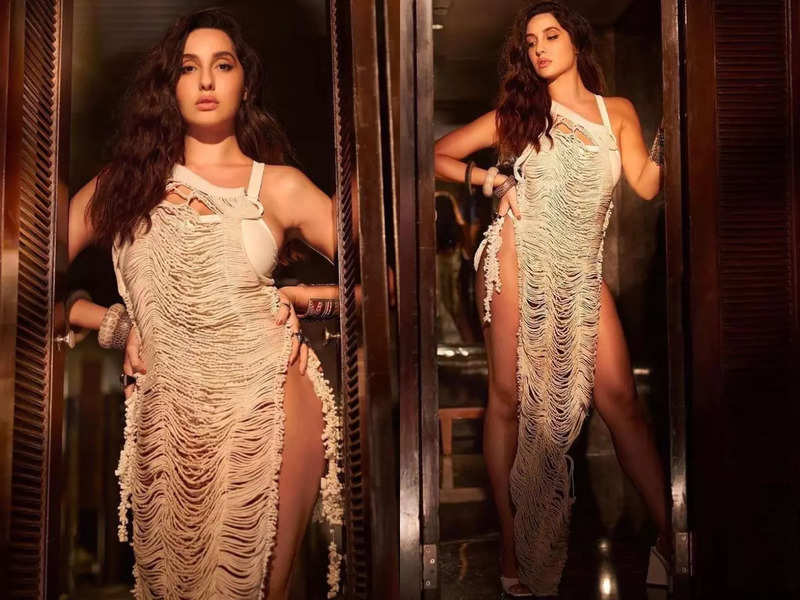 Bold ambition! Nora Fatehi's slits go up to her waist in a Vaishali S dress