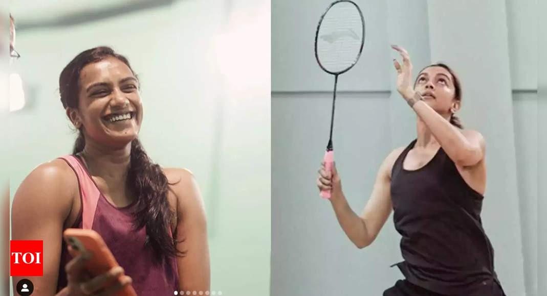 Deepika plays badminton with PV Sindhu