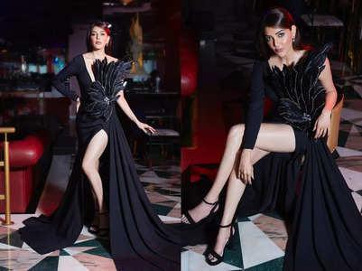 Kajal Aggarwal slays in a black slit gown