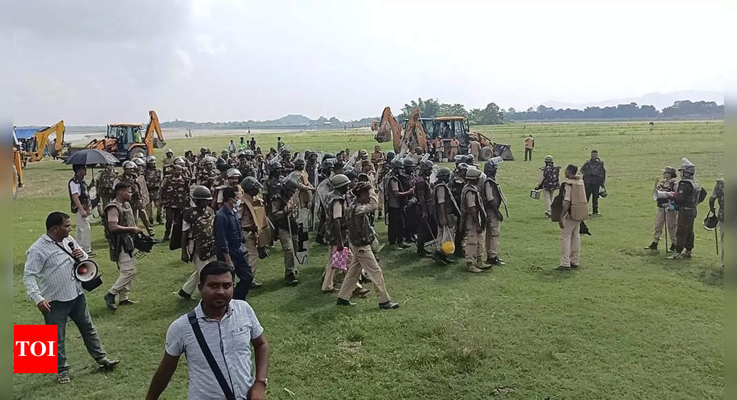 Assam News: Two killed after encroachers clash with police during eviction drive in Assam | Guwahati News – Times of India