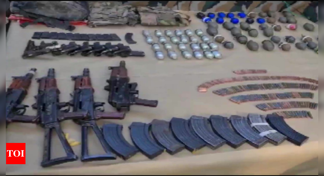 J&K: 3 terrorists killed in Hathlanga, huge cache of arms & ammunition recovered