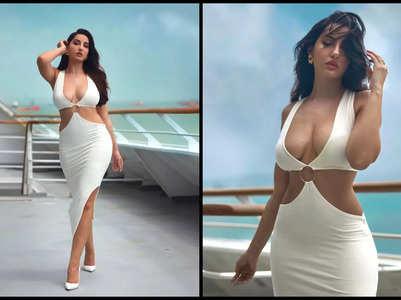 Nora Fatehi stuns in a white cutout dress