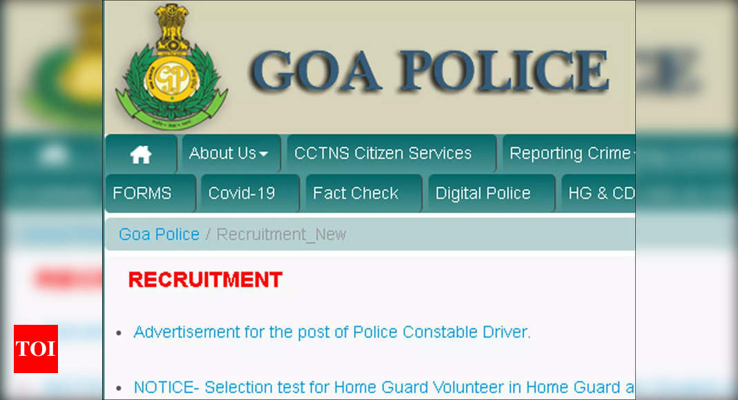 Goa Police Recruitment 2021: Apply for 55 Police Constable Driver posts