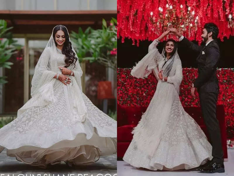 This beautiful chef bride wore an ivory lehenga for her wedding