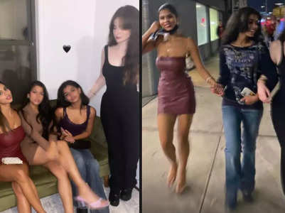 Suhana parties with pals in a bodycon dress
