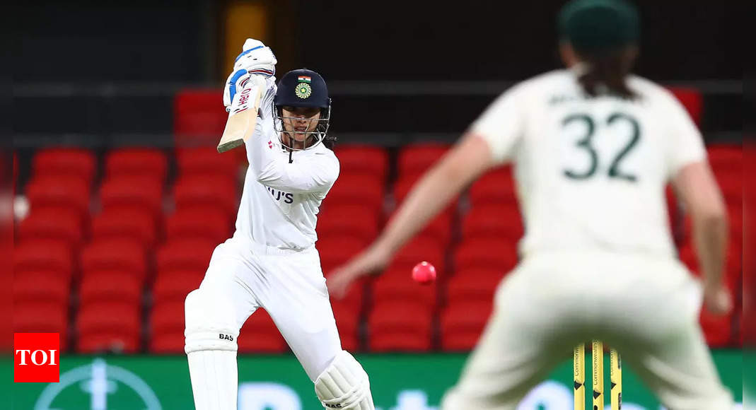 Day/Night Test: Mandhana scores career-best 80 as India finish rain-hit Day 1 on 132/1 | Cricket News – Times of India