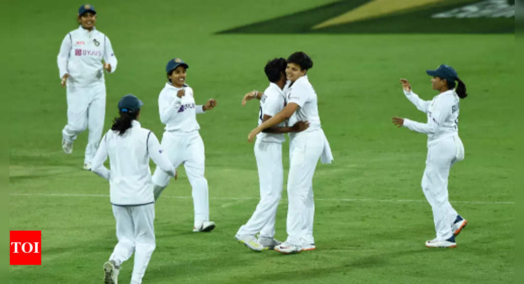 Pink Ball Test: India women leave Australia at 143/4 at stumps on Day 3 | Cricket News – Times of India