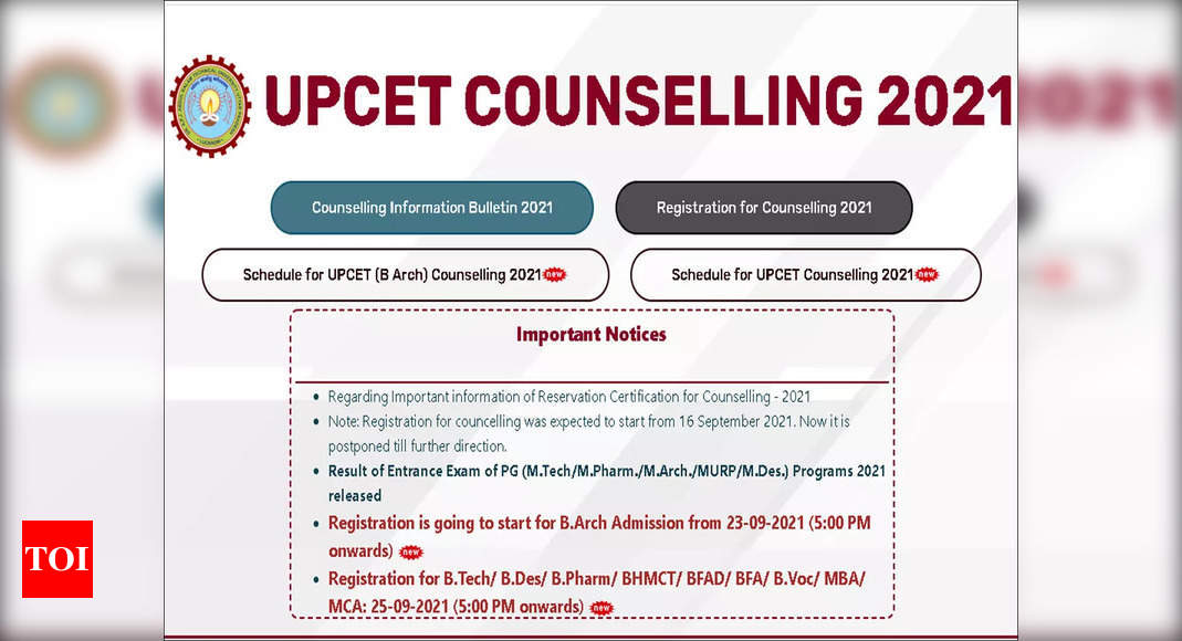 , UPCET BTech counselling 2021 begins, apply here till Oct 6, The World Live Breaking News Coverage & Updates IN ENGLISH