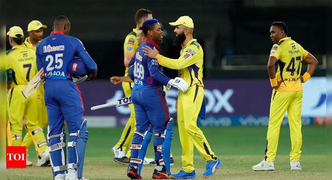 Delhi Capitals vs Chennai Super Kings Highlights: Delhi scrape past Chennai to go top | Cricket News – Times of India