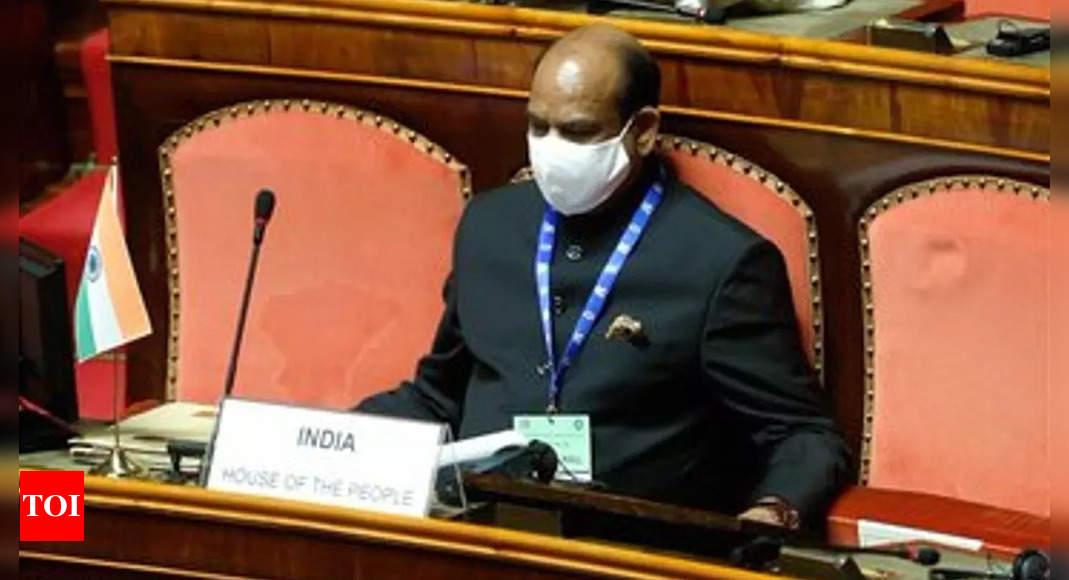 Om Birla arrives at Italy senate for G-20 Parliamentary Speakers Summit
