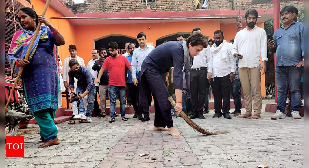 'Symbol of self-respect': Priyanka Gandhi responds to CM Yogi's dig, picks up broom to sweep in dalit locality