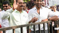 Prakash Raj and Vishnu Manchu address the media together at MAA Elections 2021