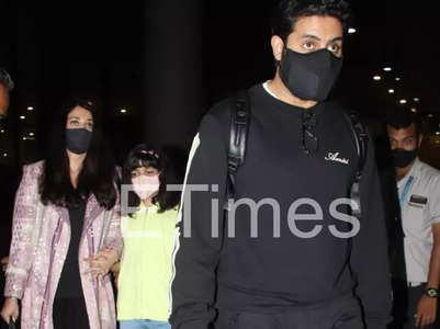 Pics: Aishwarya, Abhishek return from Paris