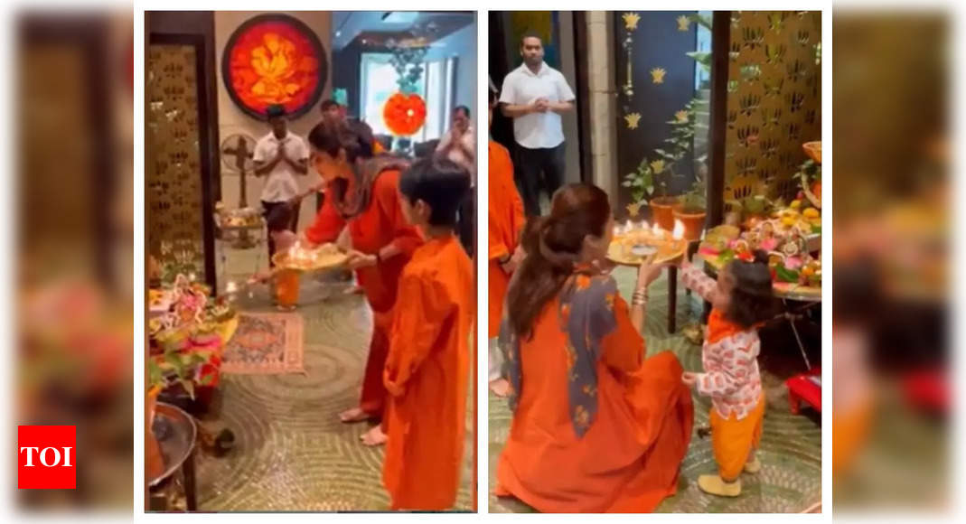 , Shilpa performs aarti with Viaan, Samisha, The World Live Breaking News Coverage & Updates IN ENGLISH