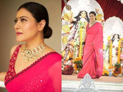 Kajol stuns in a pink sari for Durga Puja