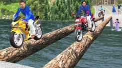 Watch Latest Children Hindi Nursery Story 'Log Bridge Bike Race' for Kids - Check out Fun Kids Nursery Rhymes And Baby Songs In Hindi