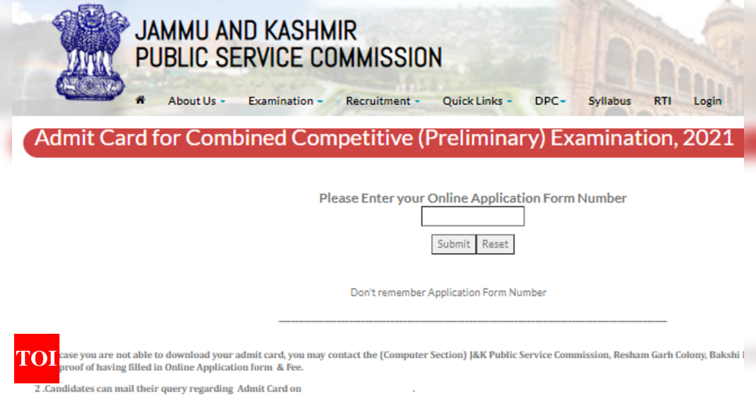 JKPSC Combined Competitive Exam 2021 prelims admit card released at jkpsc.nic.in
