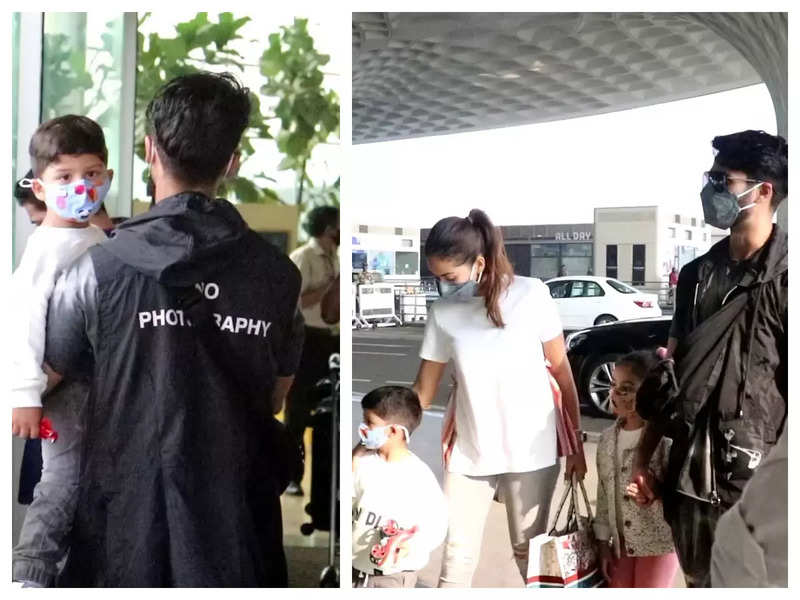 Shahid Kapoor makes a stylish appearance at the airport with wife and kids but it is his subtle message to paparazzi that is grabbing attention, see pics