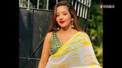Monalisa shows her beauty in her yellow saree