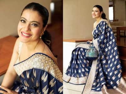 Guess the price of Kajol's blue Benarasi sari