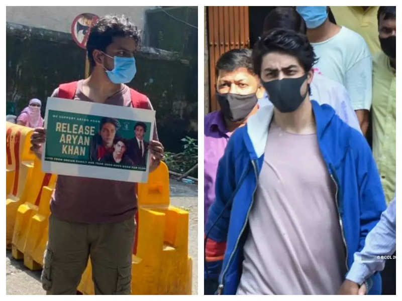 Ahead of Aryan Khan's bail hearing, fans show their support for Shah Rukh Khan's son outside the court