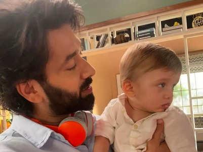 Nakuul Mehta's baby visits him on set