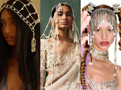 Bejewelled hair veils are having a moment
