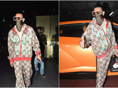 Pic: Ranveer returns to Mumbai with his mom