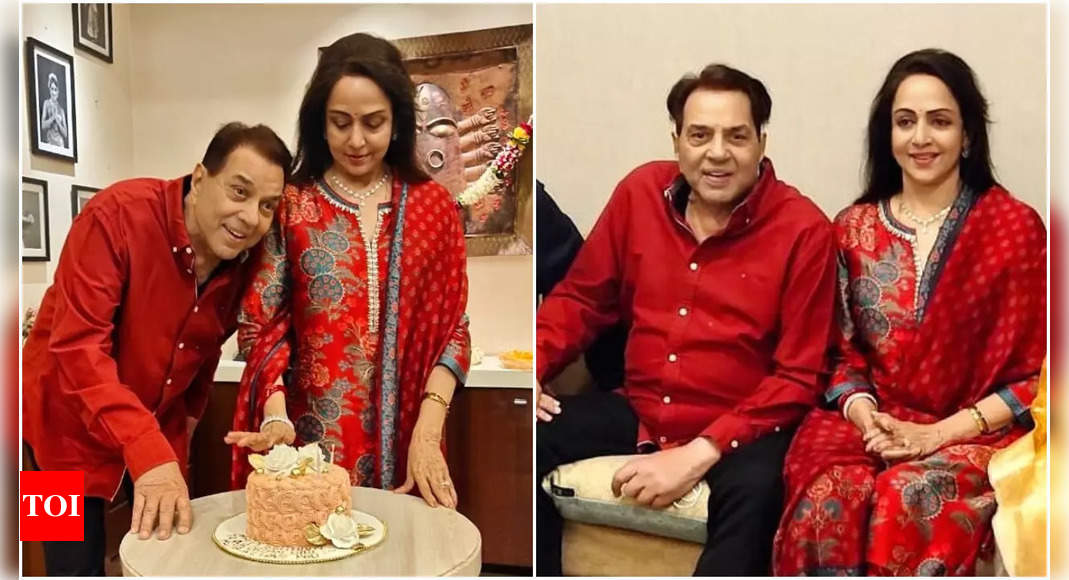 Hema Malini on her birthday with Dharmendra