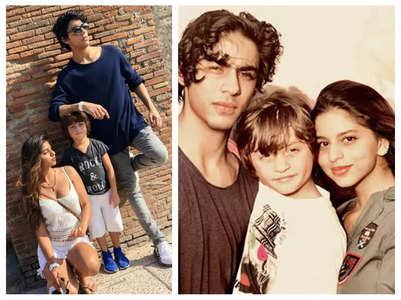 Aryan Khan's candid pics with Suhana & AbRam