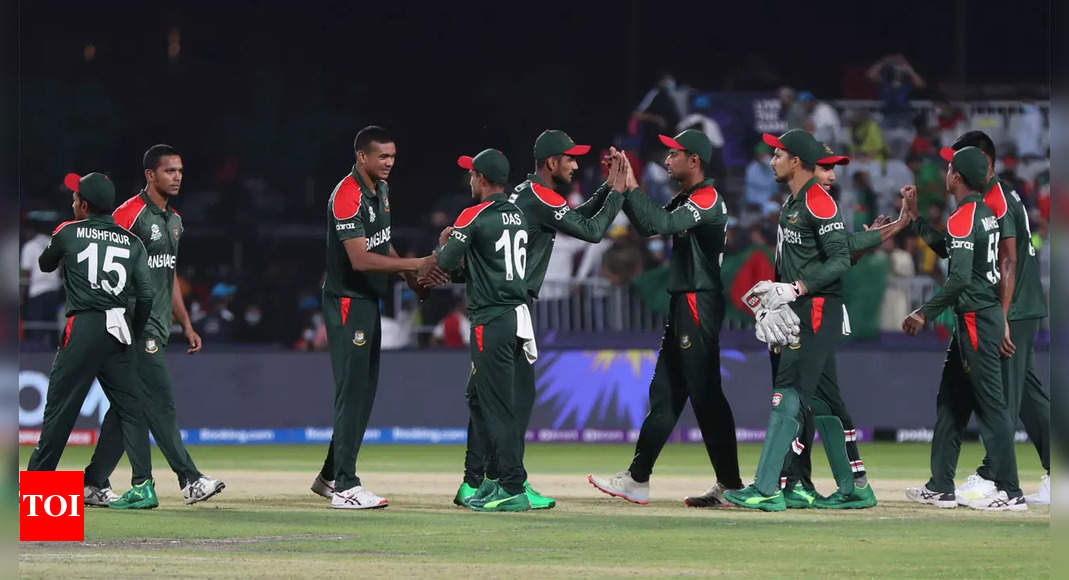 Scrappy Bangladesh stay alive in T20 World Cup with 26-run win over Oman | Cricket News – Times of India