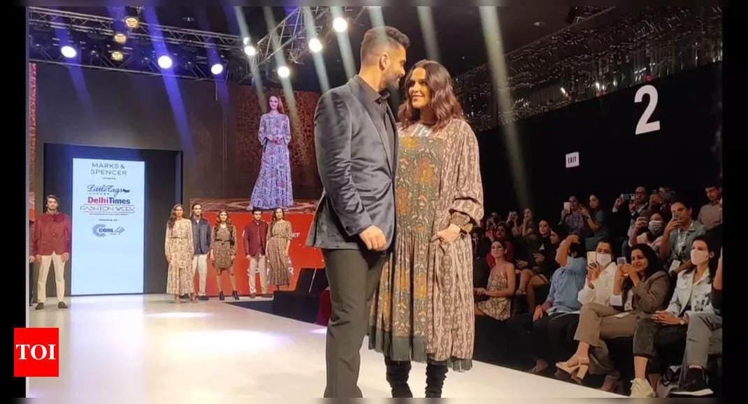 Angad Bedi and Neha Dhupia at DTFW