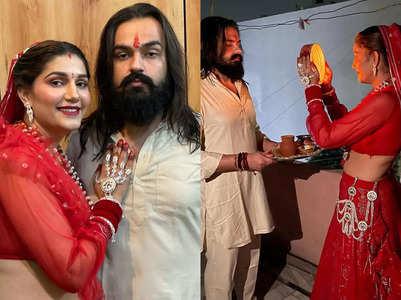 Sapna celebrates Karwa Chauth with hubby
