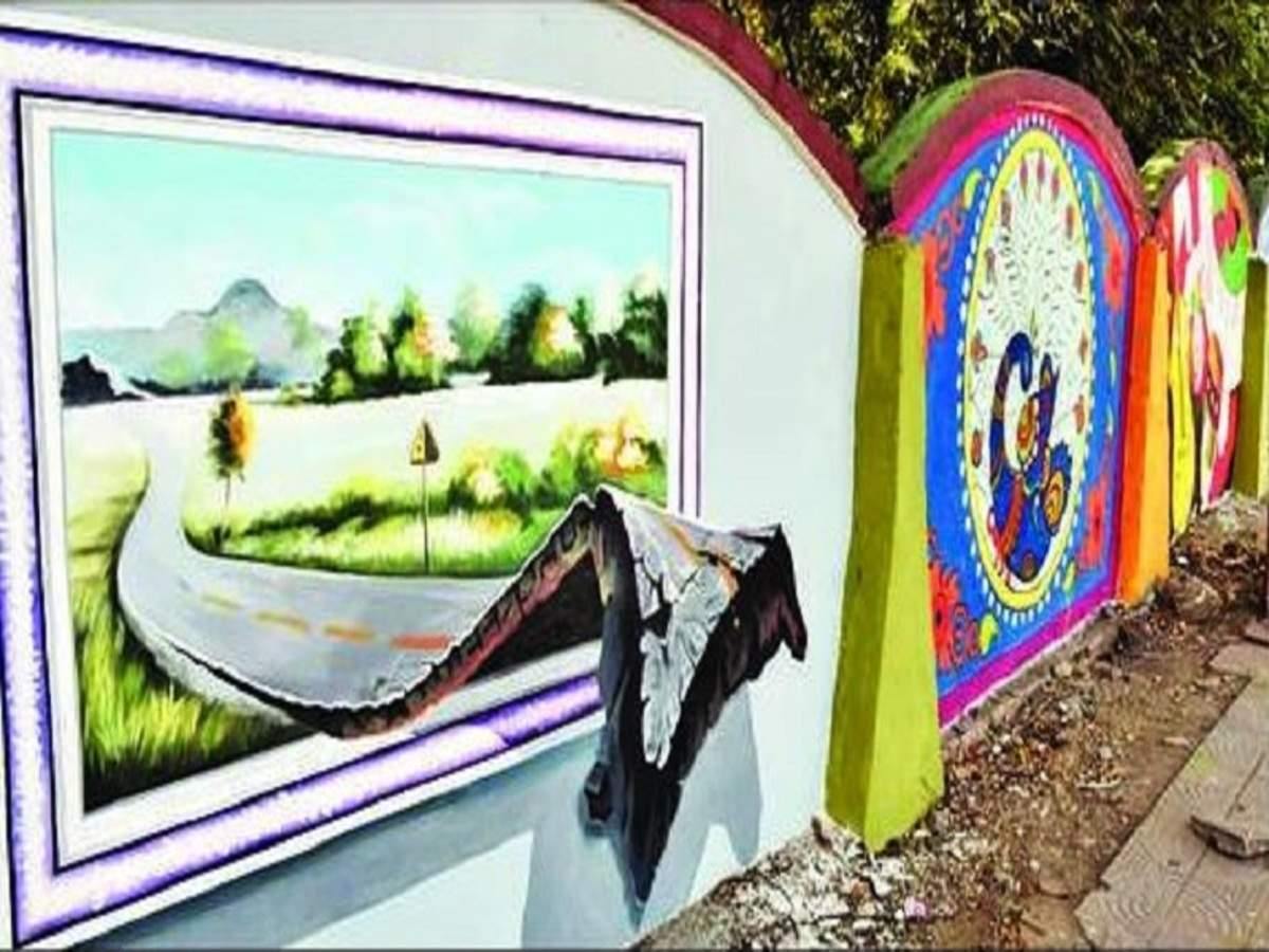 Bhopal 3 D Magic On Bhopal Walls Bring Swach Bharat Alive Bhopal