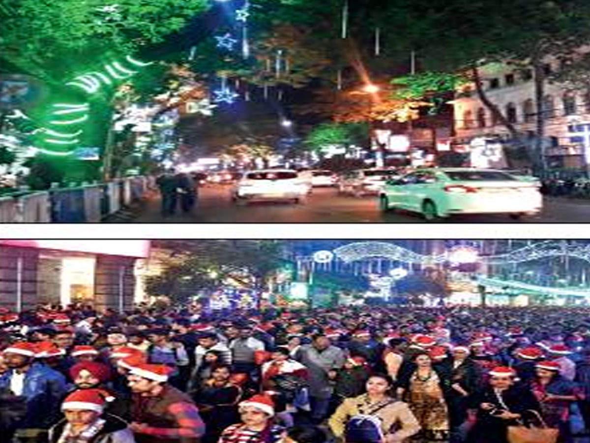 Park Street Kolkata During Christmas.Canopy Cover To Light Up Park Street For Christmas Fest Till