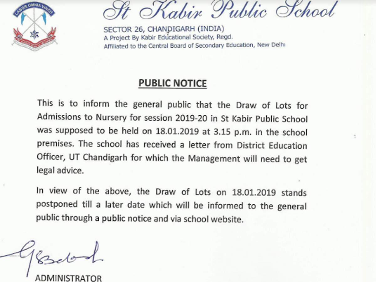 Chandigarh school postpones draw for nursery admission after letter