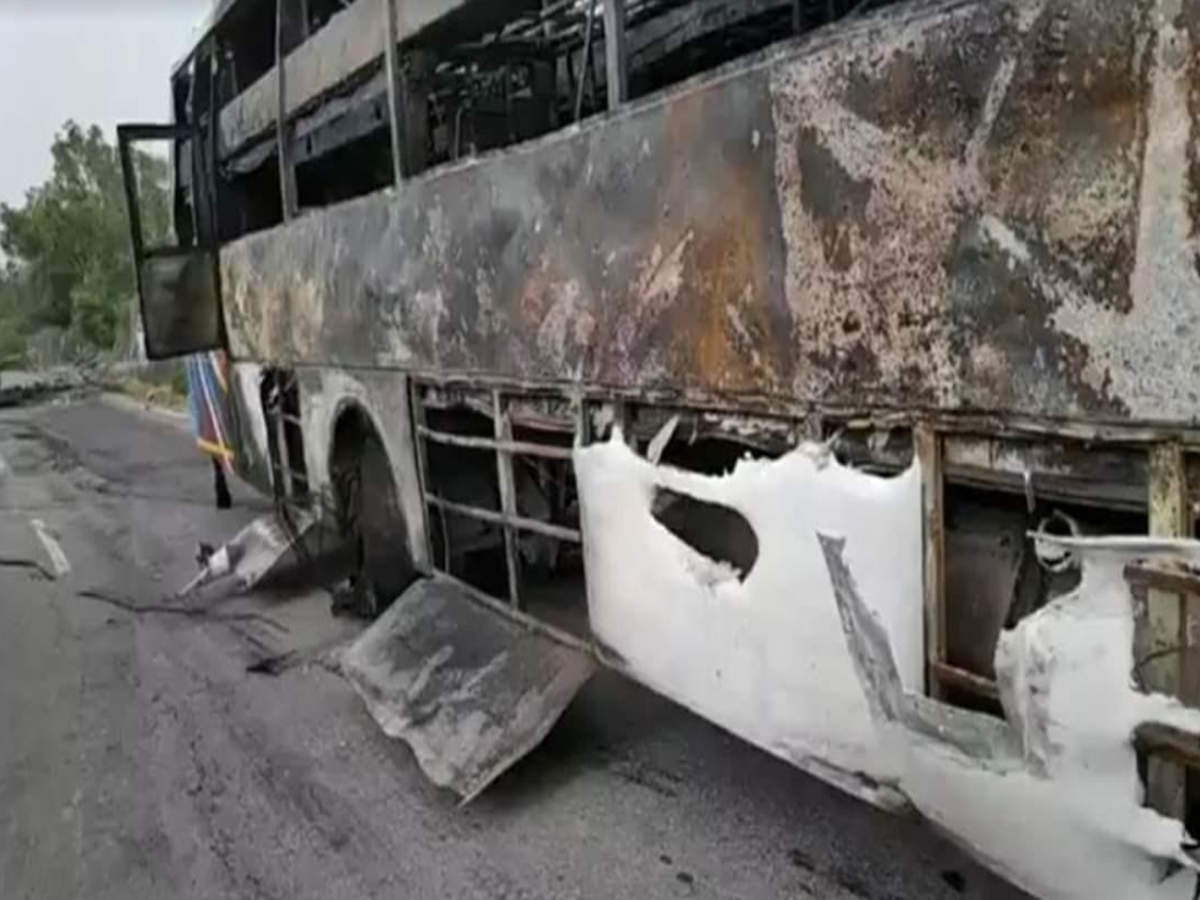 Haryana: Two dead, 17 injured as bus overturns, catches fire on GT