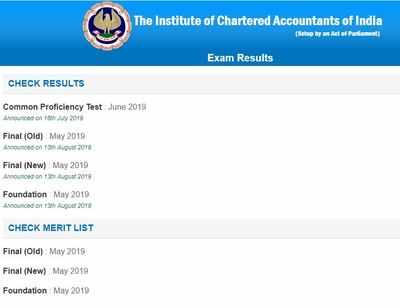 ICAI CA results 2019 released for Final and Foundation at caresults