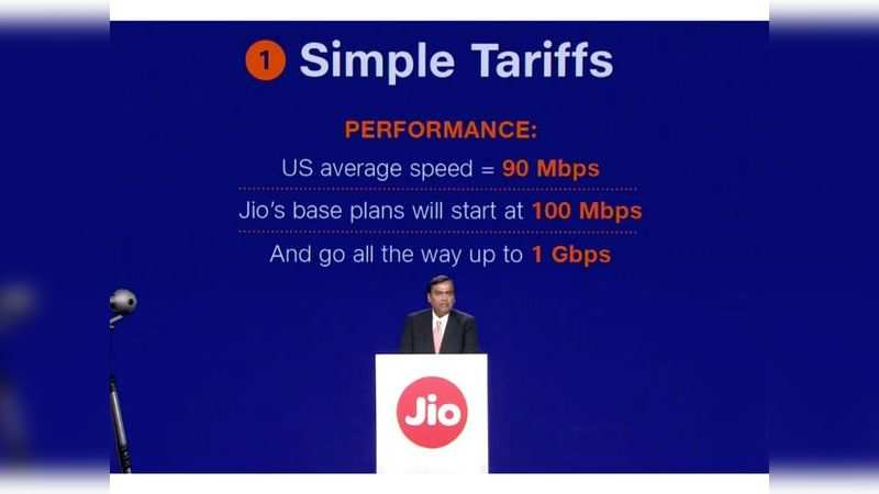 Reliance Jio GigaFiber users will get minimum speed of 100Mbps and maximum of 1Gbps