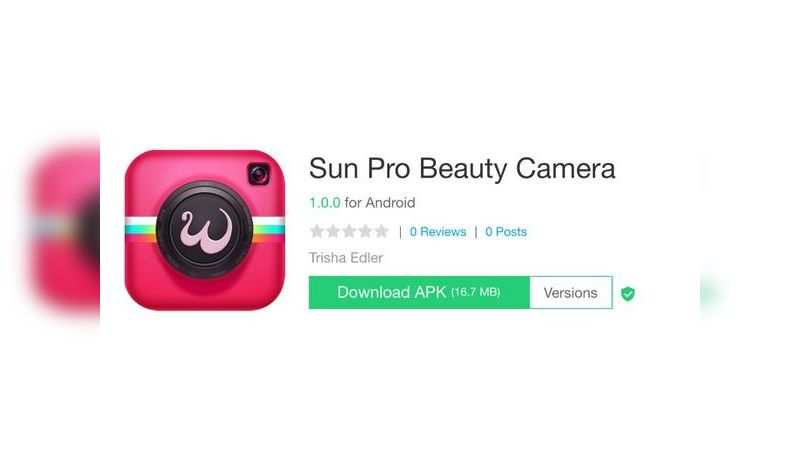 Sun Pro Beauty Camera app with over 10 lakh downloads